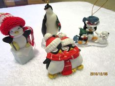 PENGUINS MISC LOT 4 ORNAMENTS CHRISTMAS PENGUINS
