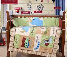 4PCS embroidery baby nursery bedding sets Quilt Bumper Sheet ,include(bumper duvet sheet pillow)