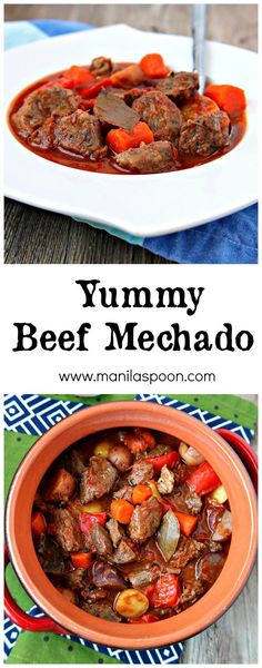 The first time I made Beef Mechado, hubby said it became his instant favorite! Deliciously tender chunks of beef slowly simmered in tomato sauce flavored with Asian seasonings. Your taste buds are treated to a savory, tangy and sweet explosion of flavors! #beef #mechado