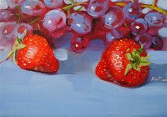 "Daily Paintworks - ""Two red strawberries"" by Elena Katsyura"