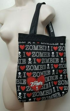 0327358db0af 2009 ROB ZOMBIE black reversible tote hand bag horror metal rock hearts  skulls… Rob Zombie