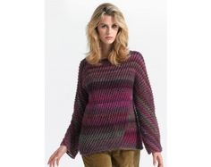 Diagonal Lace Pullover Pattern knit with 6 balls of Lion Brand Amazing yarn.