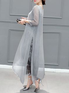 Buy Elegant Dress For Women at JustFashionNow. Online Shopping JustFashionNow Plus Size Gray Women Elegant Dress Crew Neck Asymmetrical Daytime Dress Sleeve Elegant Slit Dress, The Best Daytime Elegant Dress. Elegant Dresses For Women, Sexy Dresses, Casual Dresses, Dresses With Sleeves, Formal Dresses, Wedding Dresses, Party Dresses, Hijab Dress Party, Chiffon Dresses