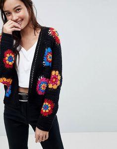 ASOS DESIGN premium cardigan in bright hand crochet Cardigan Au Crochet, Crochet Coat, Crochet Jacket, Crochet Yarn, Hand Crochet, Crochet Clothes, Crochet Hippie, Pull Crochet, Mode Crochet