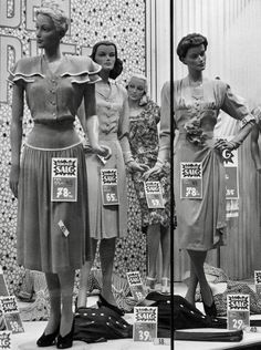 Vintage Photo Tuesday: Fashion Window Displays of the & – The Vintage Inn - SilverStar. Vintage Outfits, Vintage Dresses, Fashion Window Display, Window Displays, 1940s Fashion, Vintage Fashion, Women's Fashion, Fashion Photo, Fashion Online