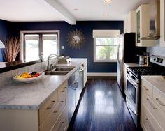 """kitchen. Dark ebony wood floors and Navy walls create a sense of infinate space.""""    """"dark floor low ceiling looks great!"""""""