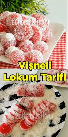 Cherry Turkish Delight Recipe Source by tutarkibu Fish And Meat, Fish And Seafood, Turkish Recipes, Italian Recipes, Turkish Sweets, Turkish Kitchen, Cherry Recipes, Turkish Delight, Fresh Fruits And Vegetables