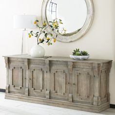 Hand-Carved Four-Door Sideboard - Four Cabinets w/Two Shelves Console Dining Room Console Table, Decor, Shelf Furniture, Dining Room Console, Dining Room Design, Restoration Hardware Dining Room, Traditional Furniture, Furniture, Restoration Hardware Living Room