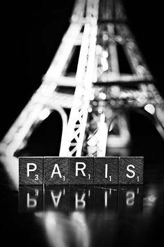 Paris - Fine Art Scrabble Tile Photography Print - Photograph black white silver grey europe travel whimsical 4x6   $9