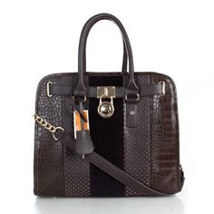 Michael Kors Hamilton Hair Calf Embossed Medium Coffee Totes only $71.99