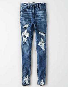 Shop American Eagle for Women's High-Waisted Jeans that look as good as they feel. Browse jeggings, skinny jeans, Curvy jeans and more in the high-waisted fit you love. Cute Comfy Outfits, Hot Outfits, Jean Outfits, Outfits For Teens, Spring Outfits, Winter Outfits, Casual Outfits, Cute Ripped Jeans, Womens Ripped Jeans