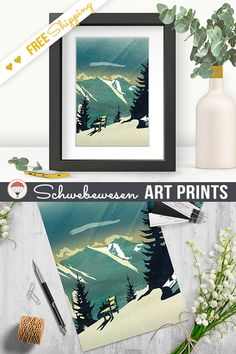 Vintage Mountain Art Print, Landscape Painting, Dreamy Scenery, Alpine Poster, Austrian Alps Wall Art, Small A4, Nature Meditation