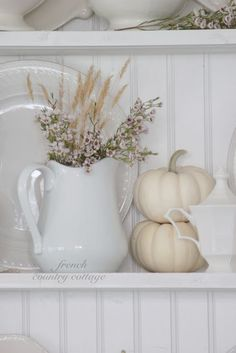 White Dishes Dressed for Fall - French Country Cottage