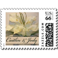 Custom Calla Lily Cake Postage Stamps  Repinned by Annie @ www.perfectpostage.com