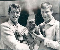 Dean Martin and Jerry Lewis LOOK HOW CUTE AND CUDDLY THEY ARE!!! So are the puppies.