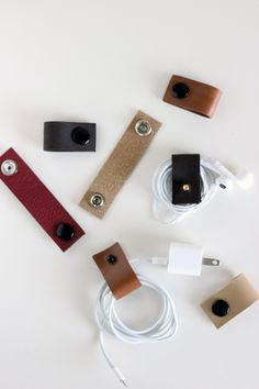 DIY Leather Cord Organizers-- could make these larger or different shapes