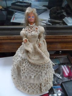 Barbie Doll with Elaborate Hand-made Beige Crochet Ball Gown on Base Stand