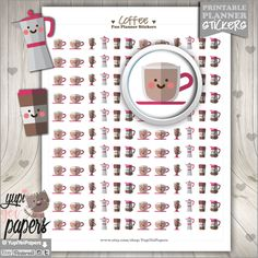 Coffee Stickers, Planner Stickers, Printable Planner Stickers, Coffee Cup Stickers, Erin Condren, Kawaii Stickers, Planner Accessories, Cute by YupiYeiPapers on Etsy https://www.etsy.com/listing/252729755/coffee-stickers-planner-stickers