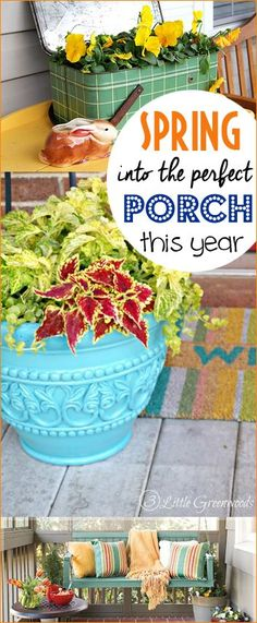 10 Ways to Spring into the Perfect Porch.  Bring the season of Spring to your porch with these stunning tips and tricks.  Add color and style to your porch by making just a few adjustments and DIY additions.