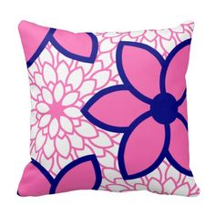 Hot pink and navy blue modern floral. Hot pink with navy blue modern flowers. Pink Pillows, Floral Throw Pillows, Hot Pink Bedrooms, Monogram Pillowcase, Navy Blue Sofa, Blue Rooms, Blue Bedroom, Pink Accents, Pink Gifts