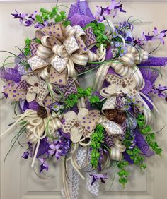 Summer Wreath, Mesh Wreath, Purple Wreath, Burlap, Everyday on Etsy, $125.00