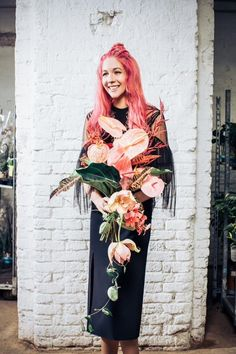 I like this one because of the pink/peach color of those crazy waxy flowers while also including the tropical vibe and greenery. The shape of it is nice too. Floral Bouquets, Wedding Bouquets, Wedding Dresses, Floral Wedding, Wedding Flowers, Cascade Bouquet, Beach Wedding Inspiration, Flower Designs, Floral Arrangements