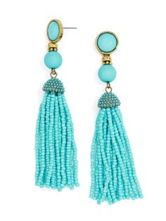 Bold beaded tassels and gem-embellished posts craft kaleidoscopic earrings that totally kill it. Turquoise may show color variance. Turquoise Tassel Earrings, Beaded Tassel Earrings, Tassel Jewelry, Emerald Earrings, Bar Earrings, Turquoise Jewelry, Beaded Jewelry, Bead Jewellery, Jewelry Accessories