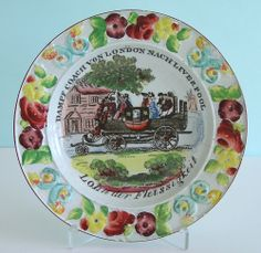 Staffordshire Pearlware ~ STEAM COACH LONDON ~ REWARD FOR WORK ~ Childs Plate NR