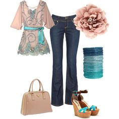 Kinda casual romantic look. My first use of Polyvore.