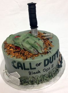 A Call of Duty zombies themed birthday cake.
