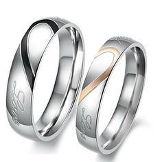 """Real Love"" Heart Stainless Steel Band Ring Valentine Couples Wedding Engagement Promise Rings - USD $ 3.99"