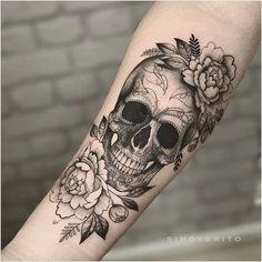 Yes! I want a skull in my flower sleeve, # flower sleeve . - Yes! I want a skull in my flower sleeve # Flower sleeves like to - Forearm Tattoos, Body Art Tattoos, Tatoos, Tree Tattoos, Piercing Tattoo, Piercings, Caveira Mexicana Tattoo, Sugar Skull Tattoos, Floral Skull Tattoos