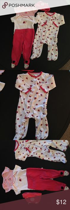 Little lady bug Carter's little lady bug onesie with feet ... + .... 2 short sleeve onesies, match red pant with lady bug feet and matching hat Carter's Matching Sets