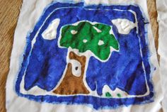 Children's batik with flour and water paste.