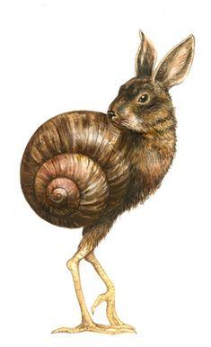 """""""Chimeric Rabbit"""" by Séverine Pineaux Art Bizarre, Weird Art, Mythical Creatures Art, Magical Creatures, Fantasy Kunst, Fantasy Art, Fantasy Animal, Lapin Art, Rabbit Art"""