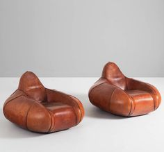 Anonymous; Leather Lounge Chairs, 1960s.