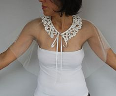 Sheer Bridal Capelet Ivory Cream Tulle Bolero by MammaMiaBridal - see lots more in store Wedding Cape, Cream Wedding, Bridal Tops, Wraps, Tulle Fabric, White Bridal, Glamour, Mode Vintage, Mesh Dress