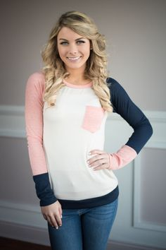 Pink and Navy Color Block Sleeves – The Pulse Boutique