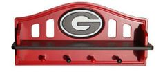 College kids wall shelf with coat rack. Make your child's walls the fashion statement with the collegiate shelf with pegs. The shelf is very bright featuring official university colors, while showing Kids Wall Shelves, Deep Shelves, Black And Red Kitchen, Hanging Hats, Bulldogs Football, Georgia Girls, Sport Craft, Aleta, Arkansas Razorbacks