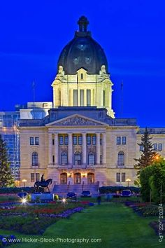 Stock photo of Legislative Building at dusk with a few lights to show its attractive details in the City of Regina, Saskatchewan, Canada. O Canada, Alberta Canada, Canada Travel, All About Canada, Saskatchewan Canada, Western Canada, Largest Countries, City Architecture, Dusk