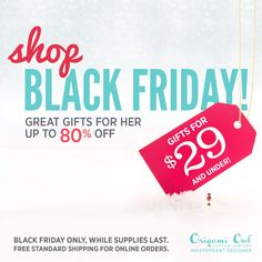 ♥BLACK FRIDAY ONLINE SPECIALS♥  ONLY at www.darlingpendants.origamiowl.com These Black Friday offers will only be available for online orders beginning November 28, 2014 from 12:00 a.m. (EST) through 11:59 p.m. (EST) or while supplies last.  ************* FREE standard shipping on all online orders! *************  These are separate from my personal Black Friday special :D  #BlackFriday