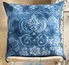 DIY One Stencil - Three Ways -- Home Decor Pillows You Will Want to Create! Beautiful faux denim pillow made with FolkArt paint and stencils.