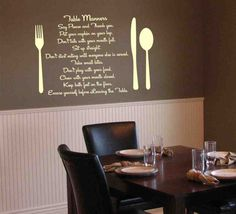 Superb Items Similar To Table Manners Kitchen Or Dining Room Vinyl Wall Decals For  Your Home   Vinyl Lettering Art Decal On Etsy