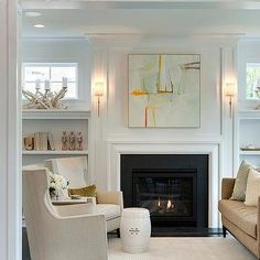 Orange and Gray Abstract Over Fireplace with Shelves