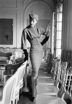 """Claire in Dior's ensemble called """"Belotte"""", Autumn/Winter Collection Vivante Line 1953, photo by Mark Shaw, Maison Dior, Paris."""