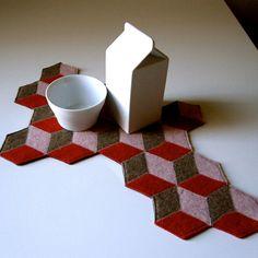 "Geometric felt modern ""doily"""