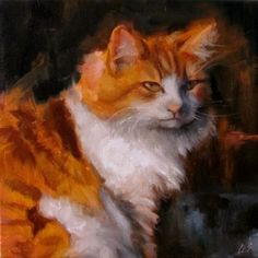 Original Oil PAINTING CES Cat Pet Portrait Orange Tabby Animal Politics NFAC Art…