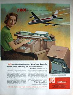 1961 Ad NCR National Accounting Machines TWA Trans World Airlines Original ad