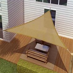 SUN SAIL SHADE - TRIANGLE CANOPY COVER-OUTDOOR PATIO AWNING-16' SIDES (16x16x16) in Garden & Patio, Garden Structures & Shade, Shade Sails | eBay
