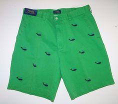Polo Ralph Lauren Men's 100% Cotton Green/Navy Embroid Shorts Size 36 Sale NWT #PoloRalphLauren #CasualShorts